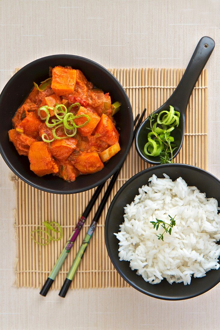 Thai Red Curried Butternut Squash with Rice