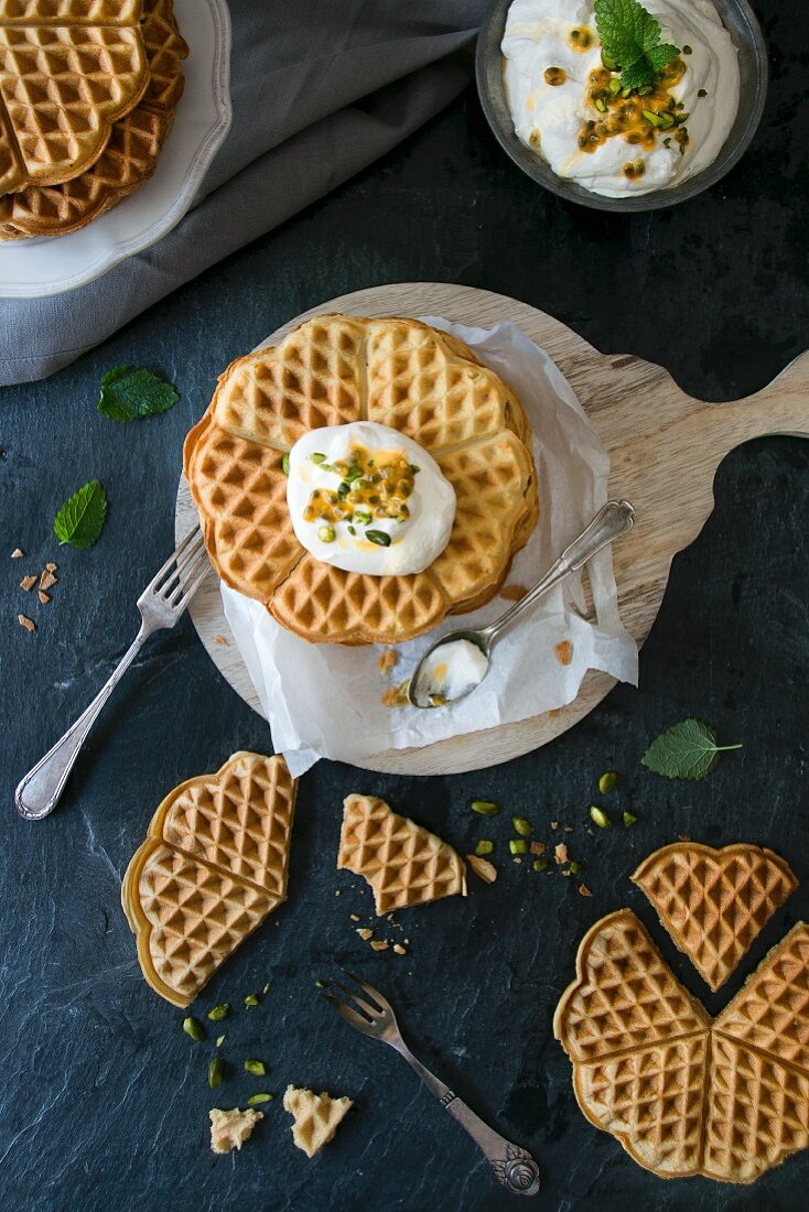 Gluten-free waffles with passion fruit