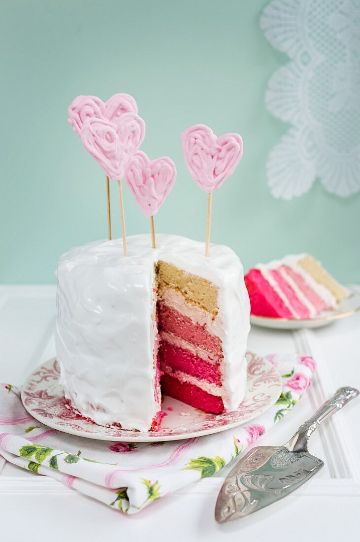 Pink rainbow cake for Valentines Day