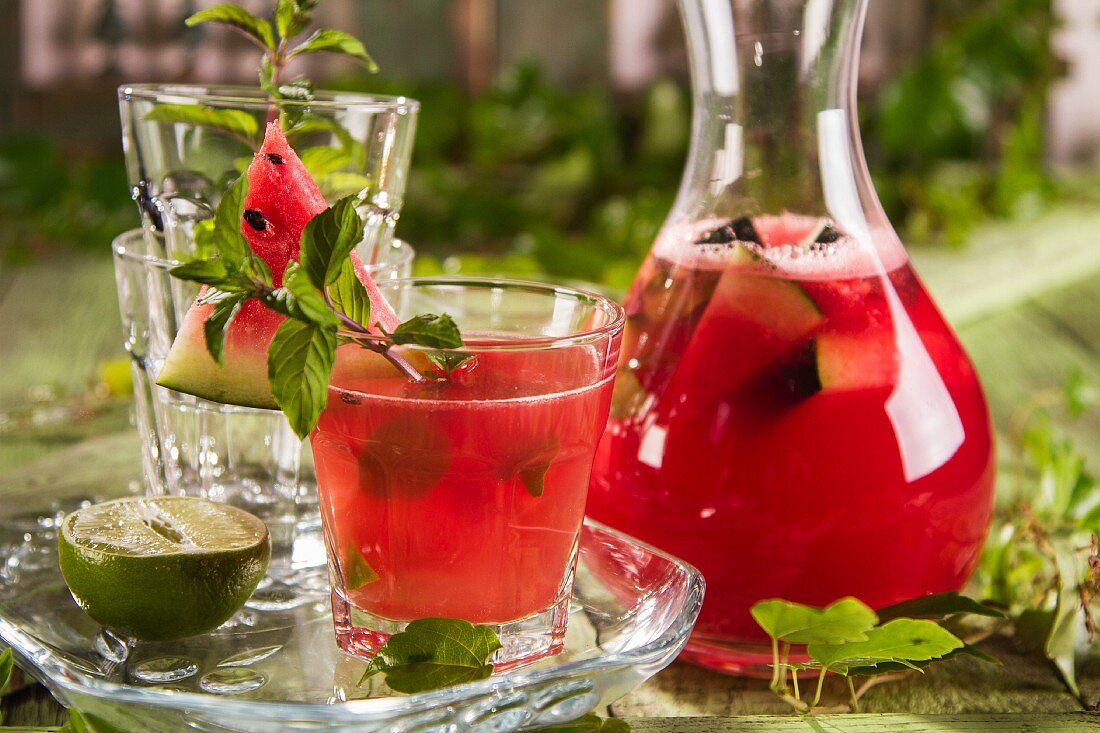 Homemade lemonade with watermelon and mint