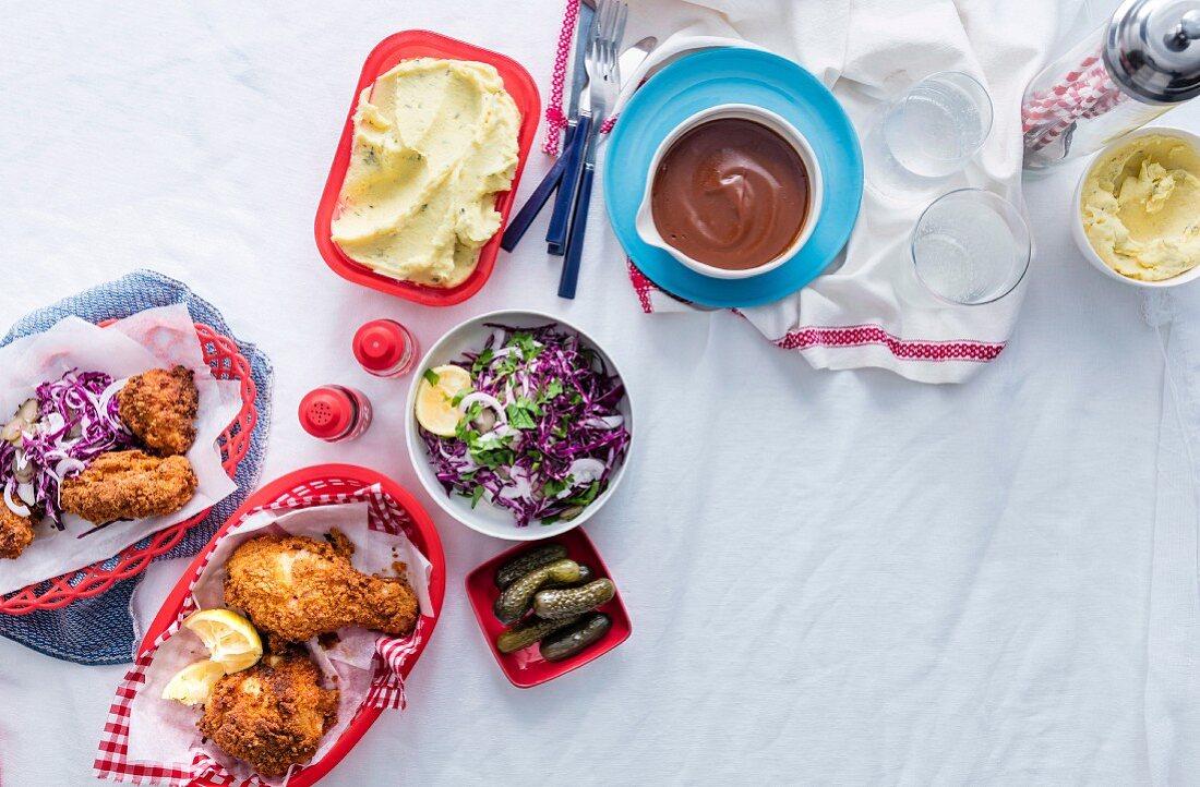 Southern Fried Chicken, Red Cabbage Salad, Rich Tomato Gravy, Creamy Mashed Potato, Poultry, Potato