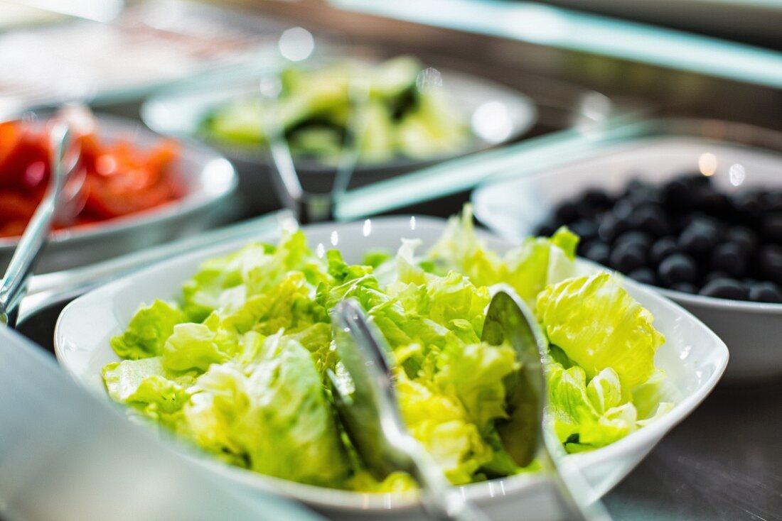 A salad bar in a restaurant (close up)