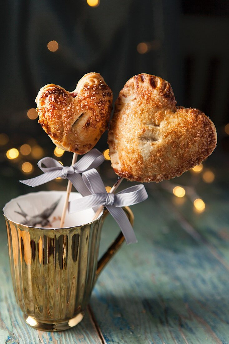 Cherry pie pops (small cherry pies on sticks) for Valentine's Day