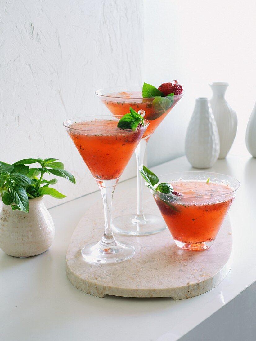 Strawberry basil margarita cocktails