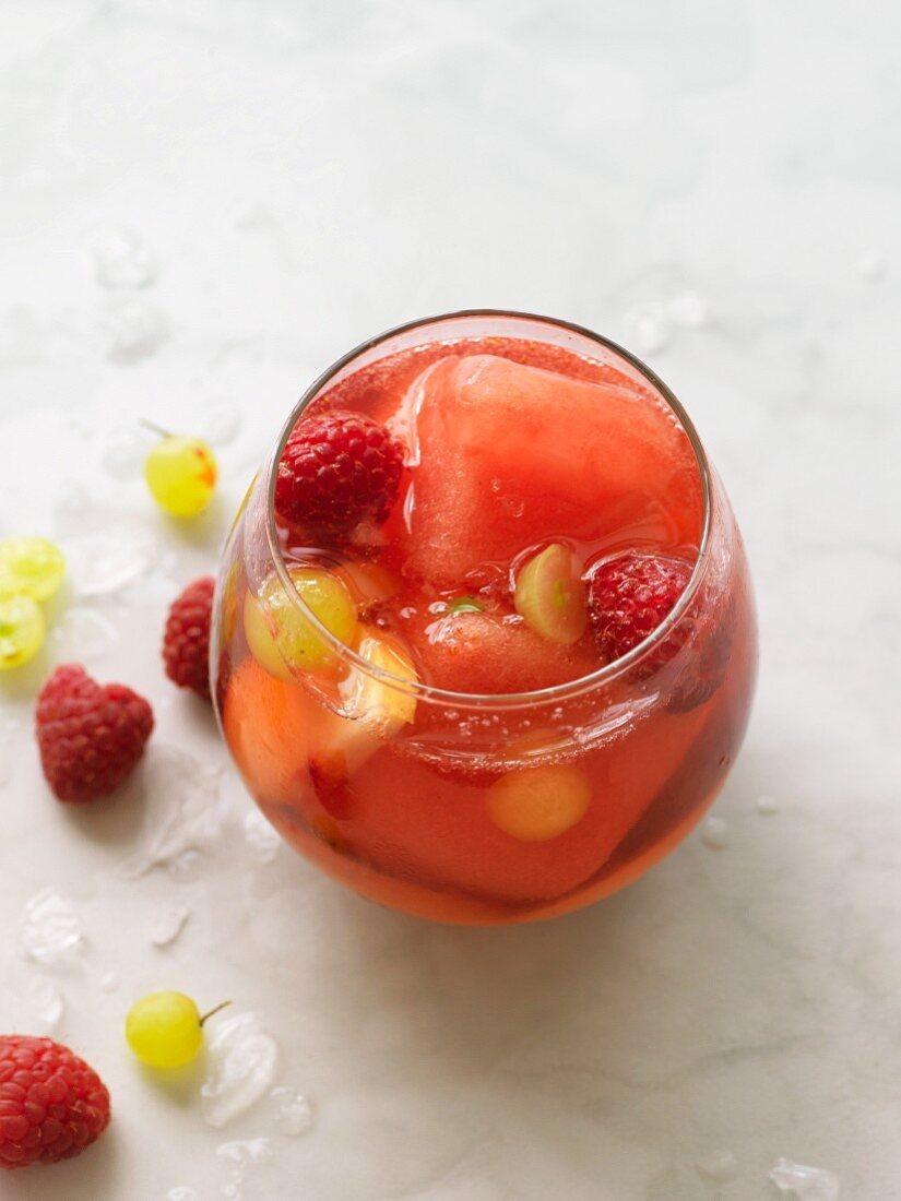 Sangria with frozen watermelon