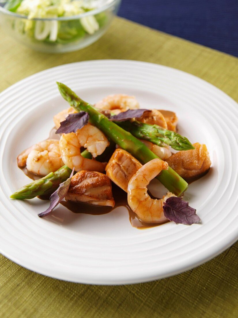 Thai salmon shrimp stir fry