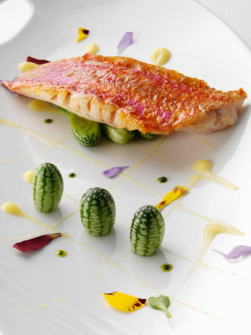 Individual portion of red mullet