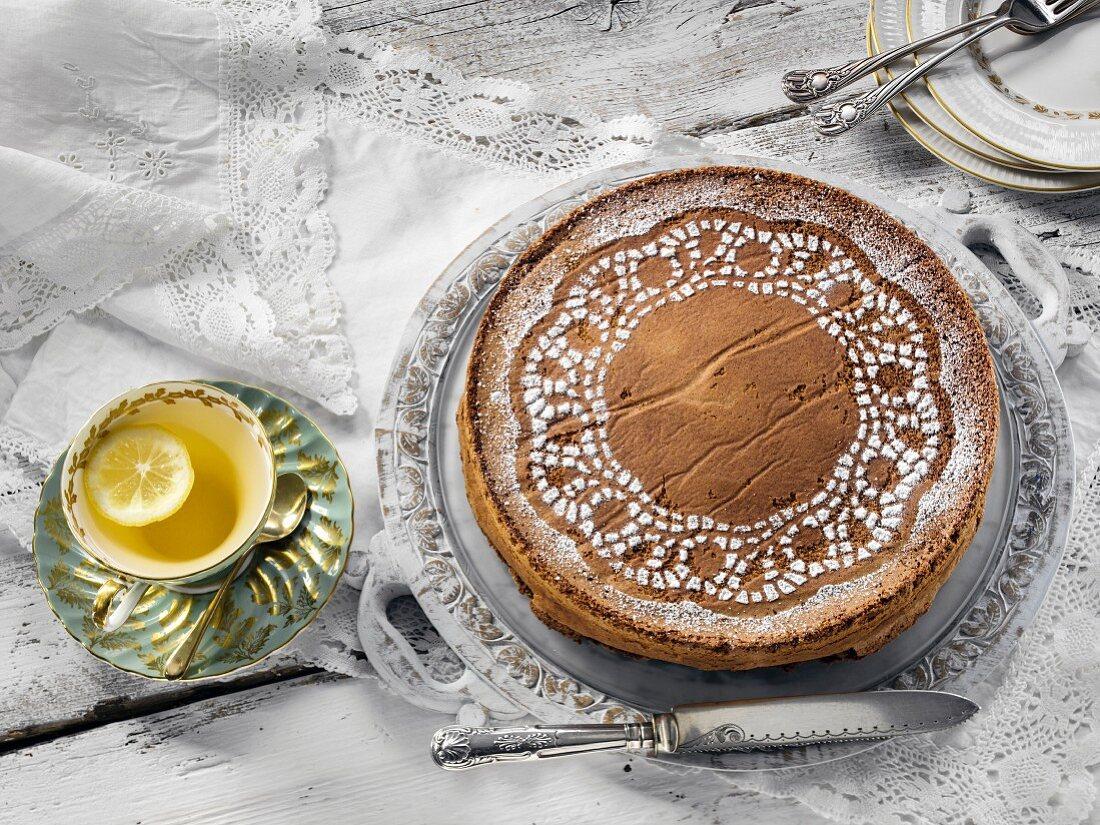 Chocolate almond lace torte