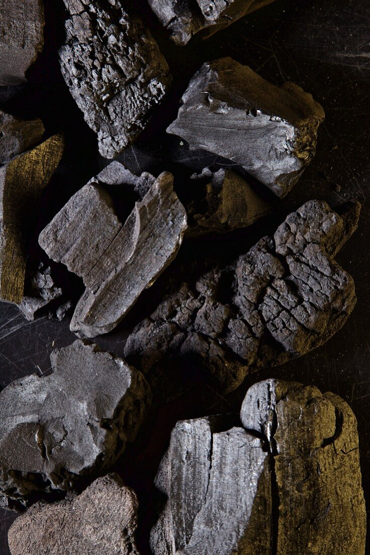 Different kinds of Charcoal on black becgraund