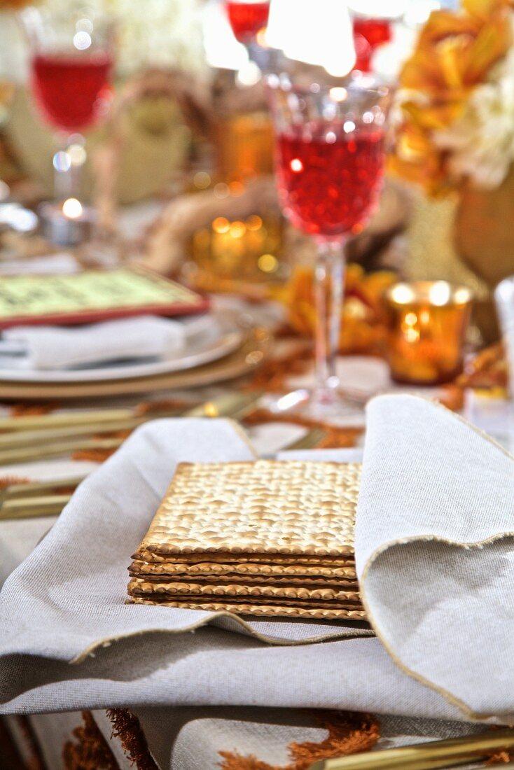 Jewish Matzos on a holiday table