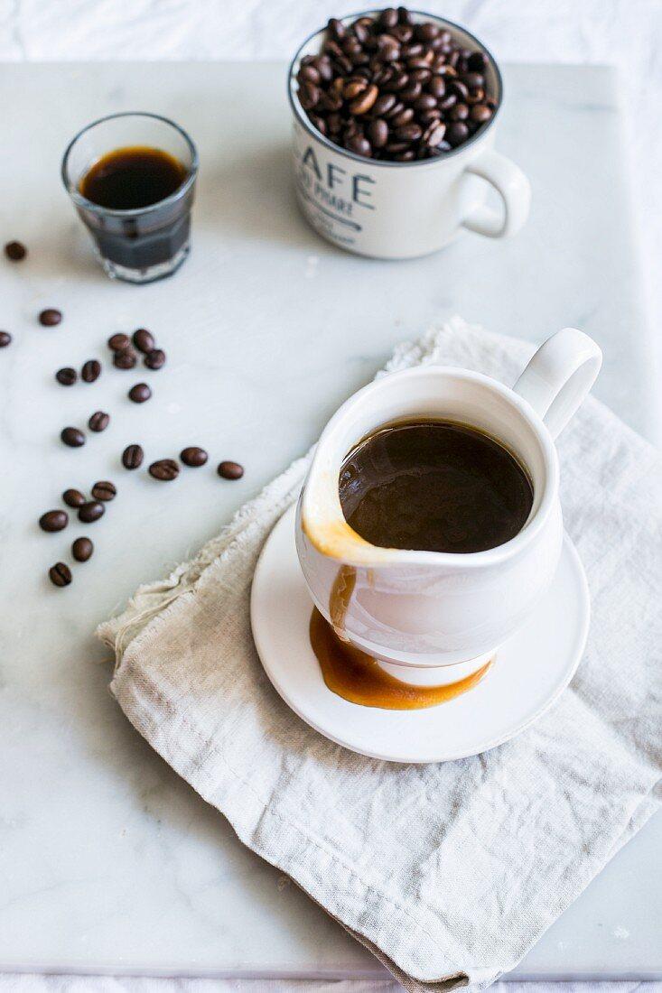 Coffee and chocolate sauce