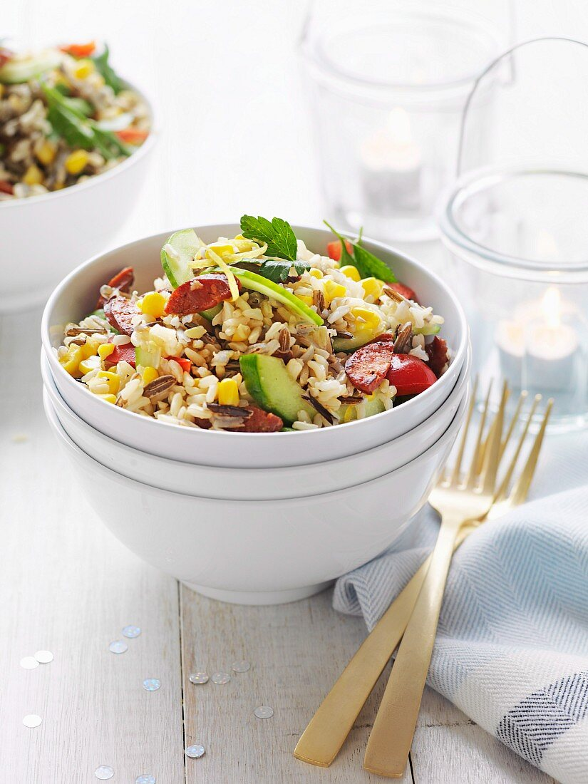 Wild rice and chorizo salad