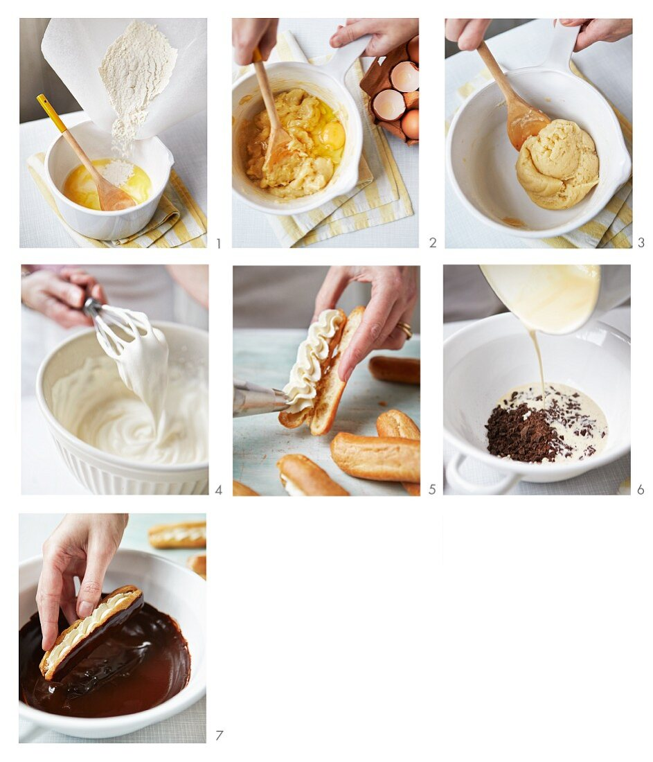 Cream-filled eclairs being made
