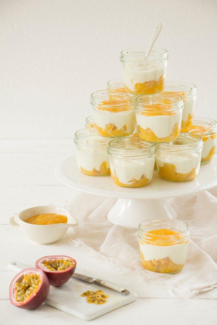 Yoghurt and cream dessert with passion fruit sauce