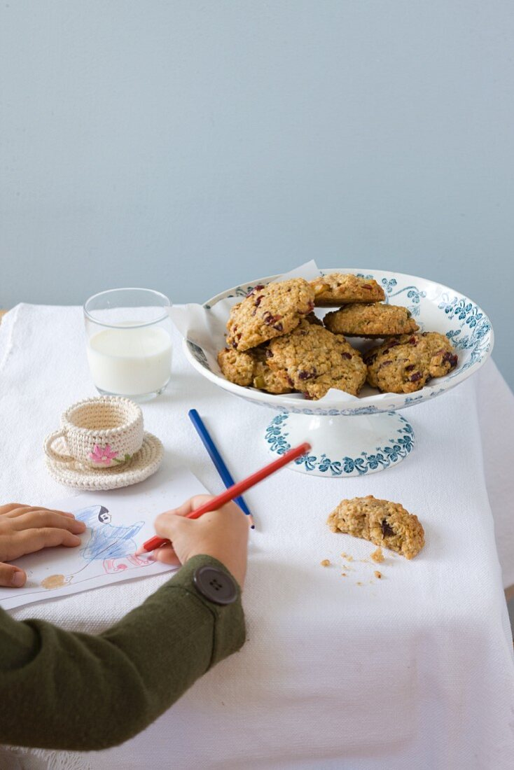 Chocolate chip cookies and milk for children