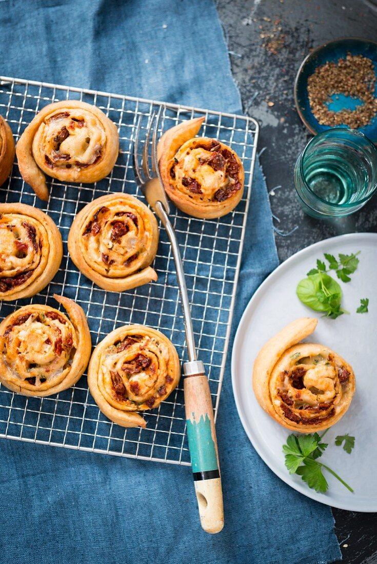Savoury puff pastry pinwheels