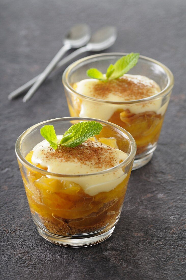 Yellow plum tiramisu in a glass