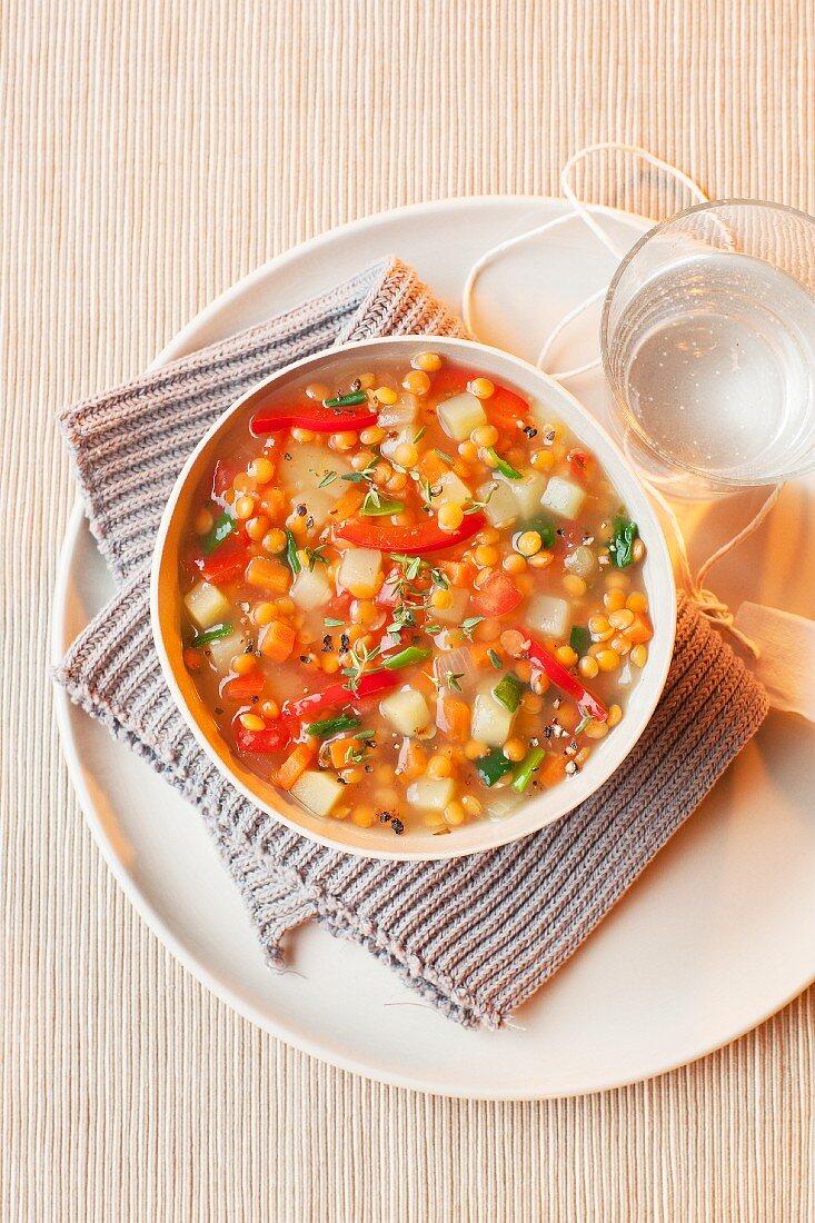 Mediterranean lentil soup with red lentils