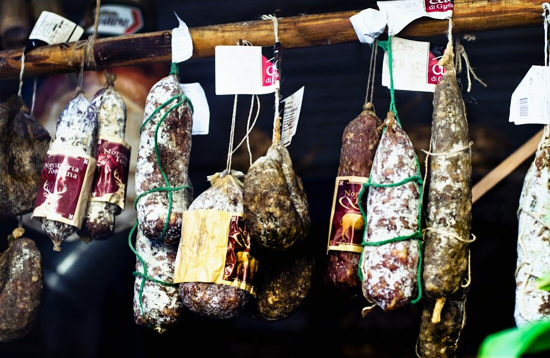 Various Tuscan salamis hanging in a delicatessen in Italy