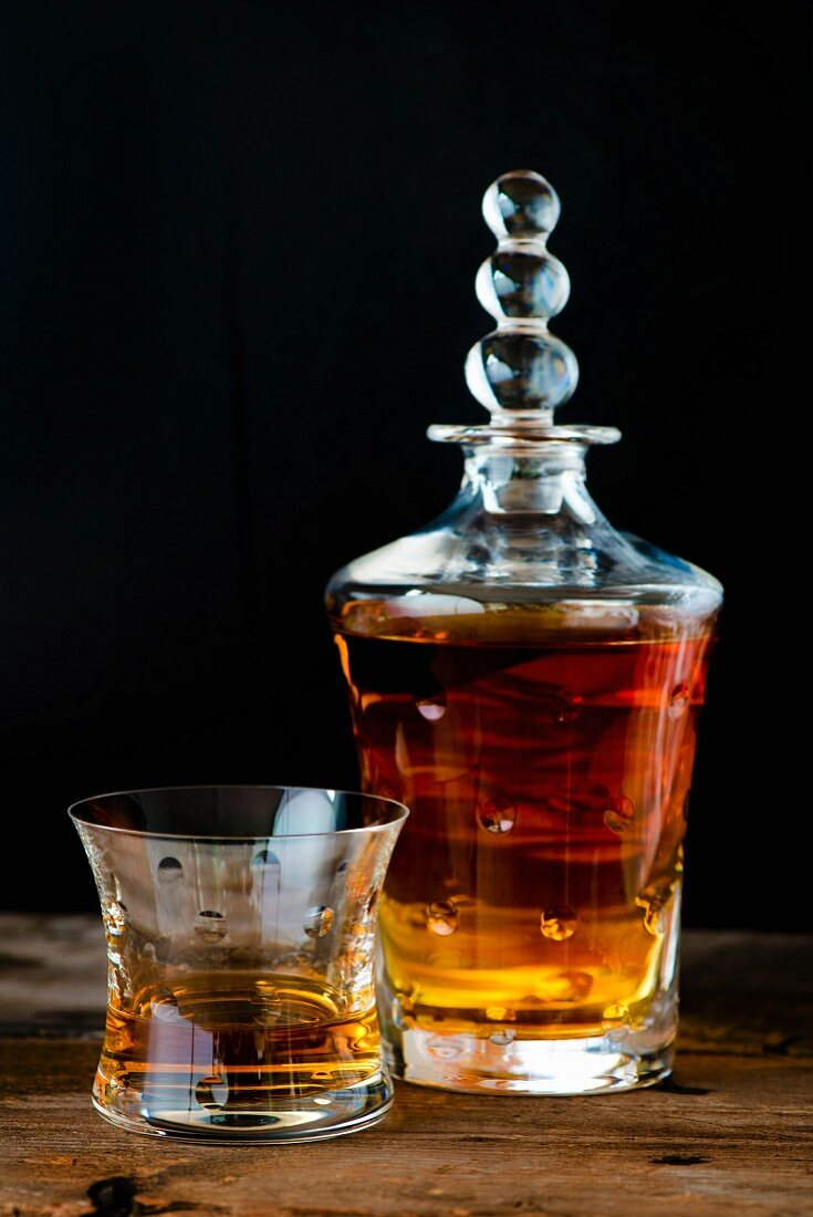 Whisky in a glass and a French Crystal Saint Louis carafe