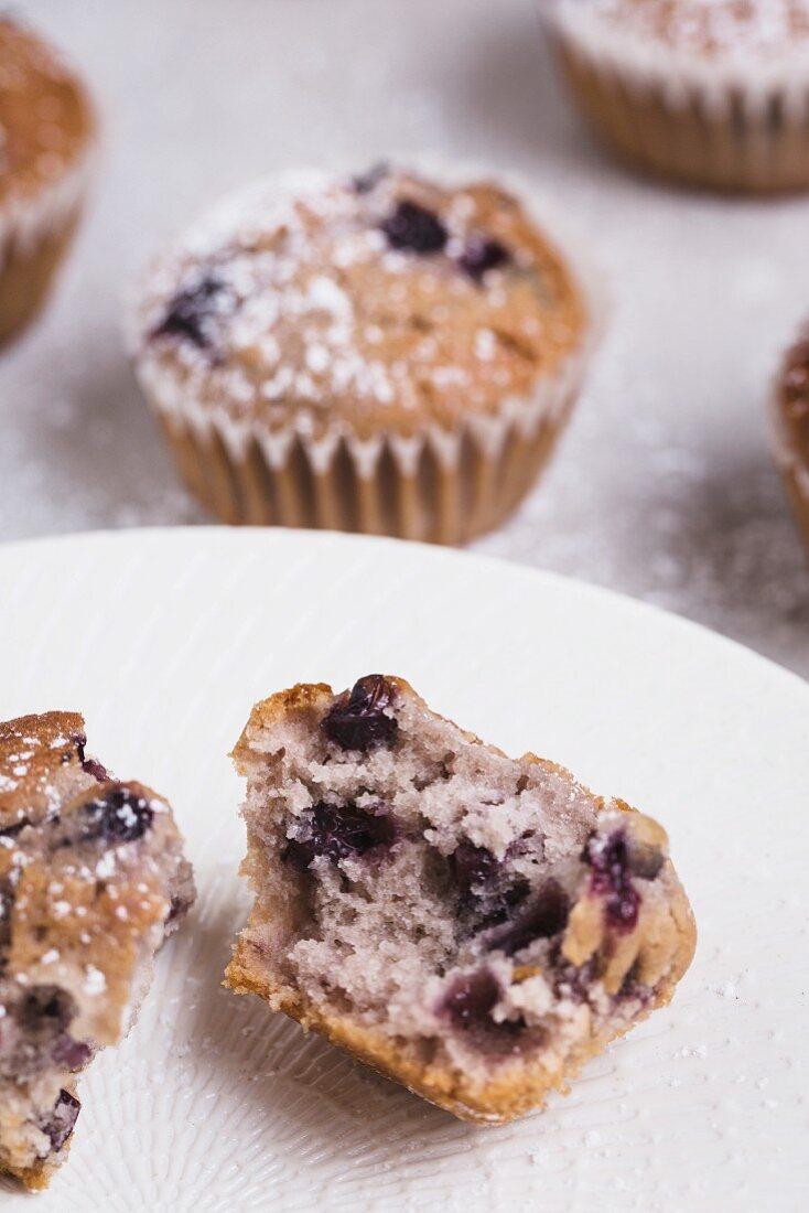 Fresh blueberry muffin split open