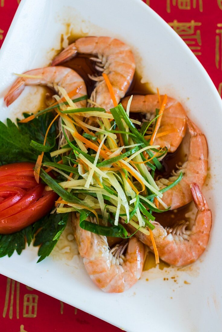 Shrimp sweet with vegetables (China)