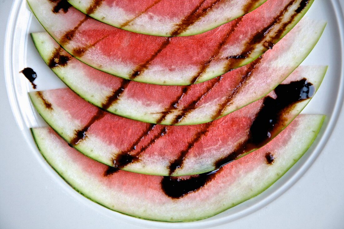Watermelon served with balsamic vinegar