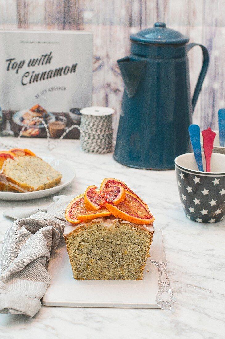 Orange and poppy cake with blood orange slices