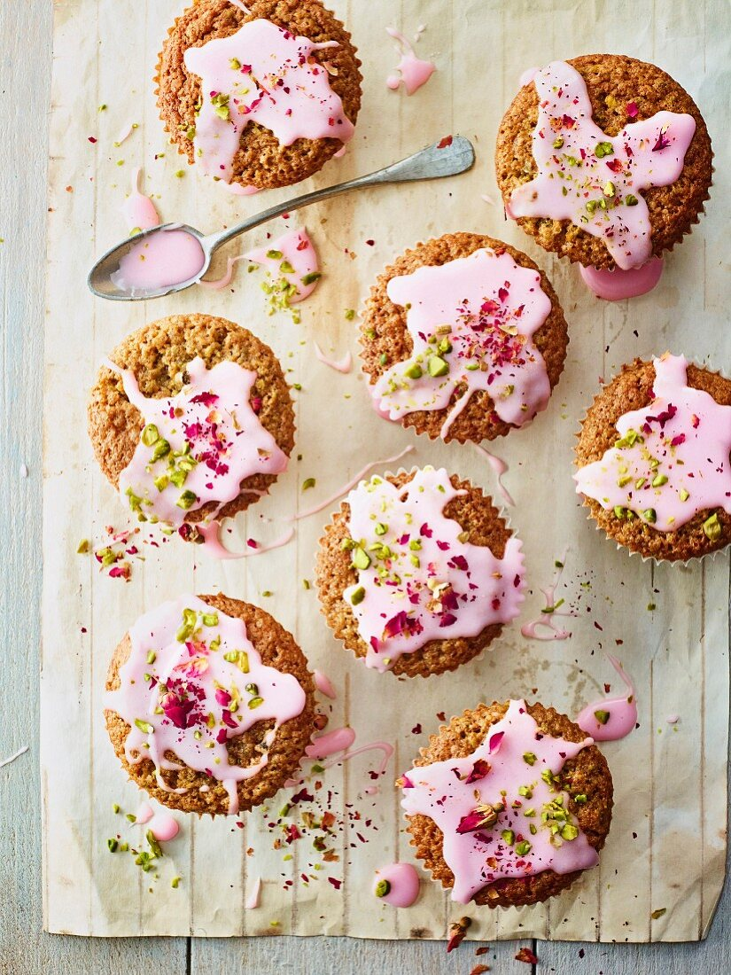 Pistachio and rosewater cupcakes