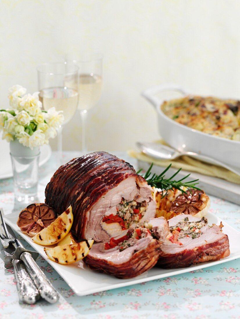 Slow roasted stuffed pork belly (Easter)