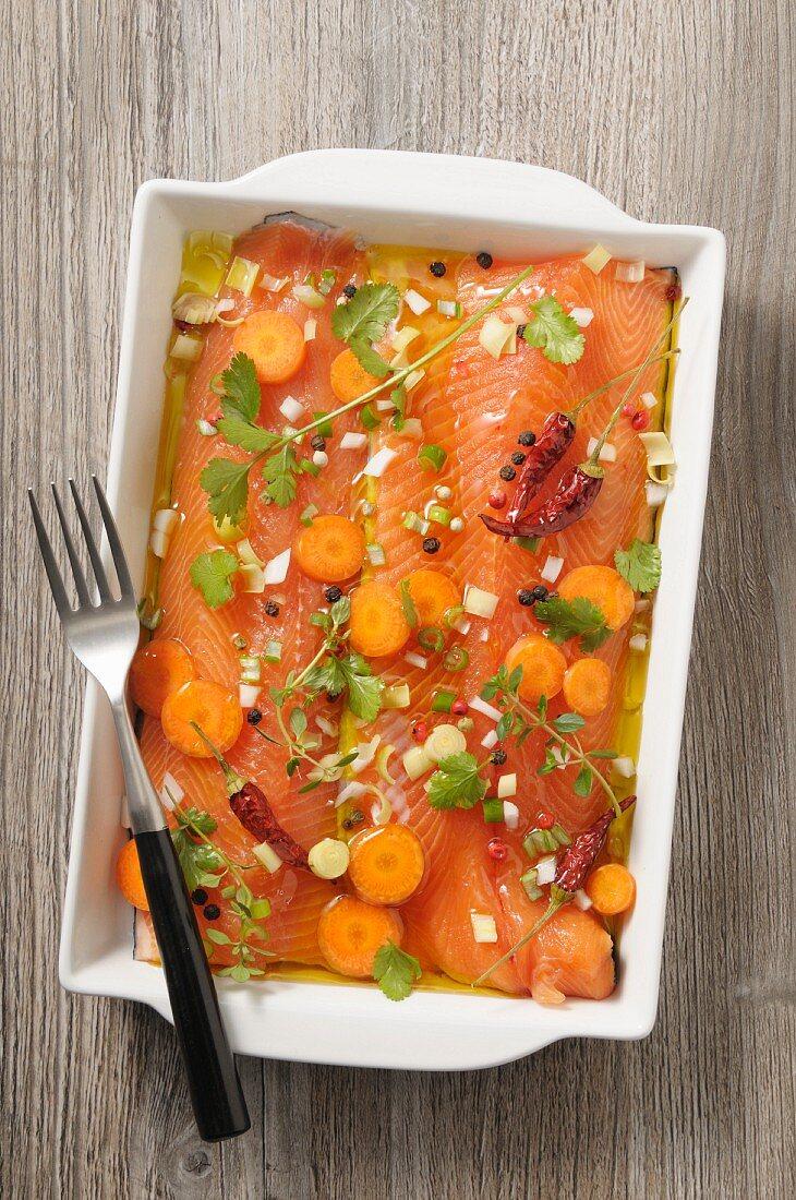 Salmon fillets in a coriander and lemongrass marinade