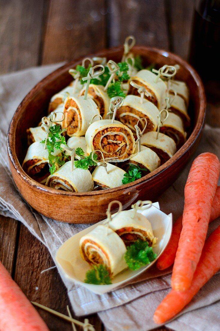 Vegan tortilla rolls with carrots