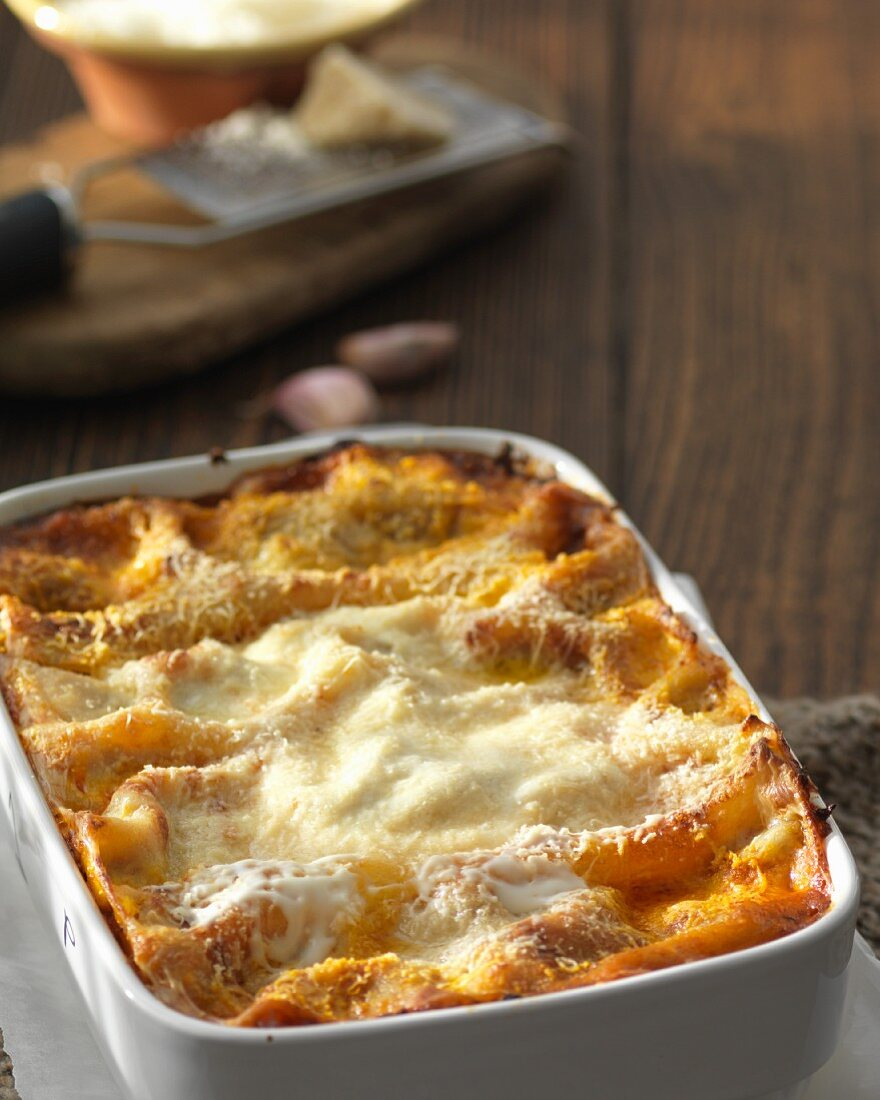 Homemade lasagna in a baking dish
