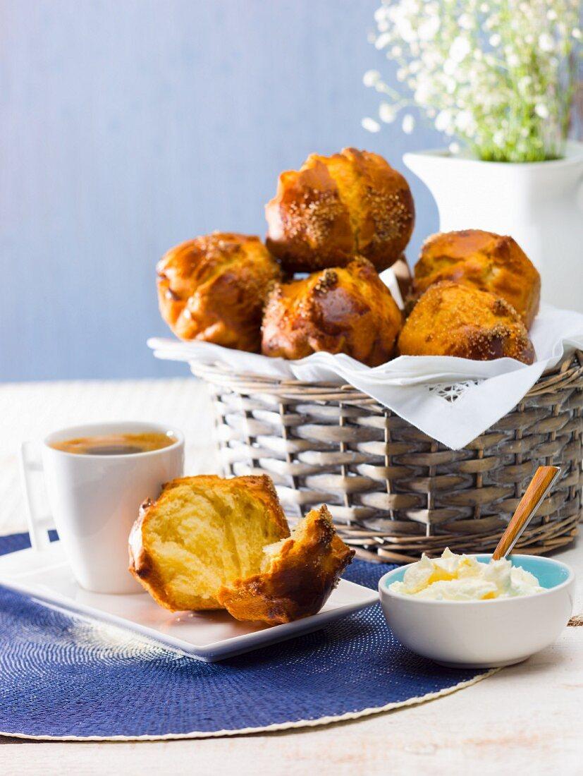 Brioche and coffee for breakfast