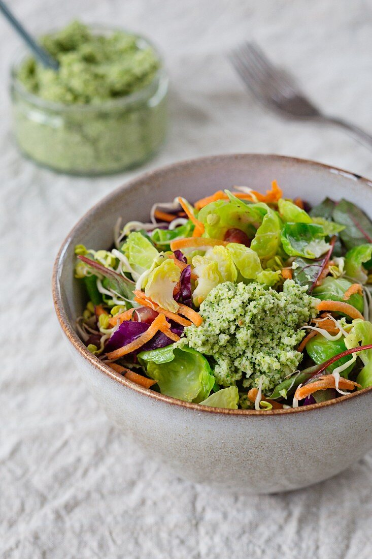 Brussels sprout salad with pomegranate seeds, lentil sprouts, carrot strips and red cabbage strips and broccoli and walnut pesto