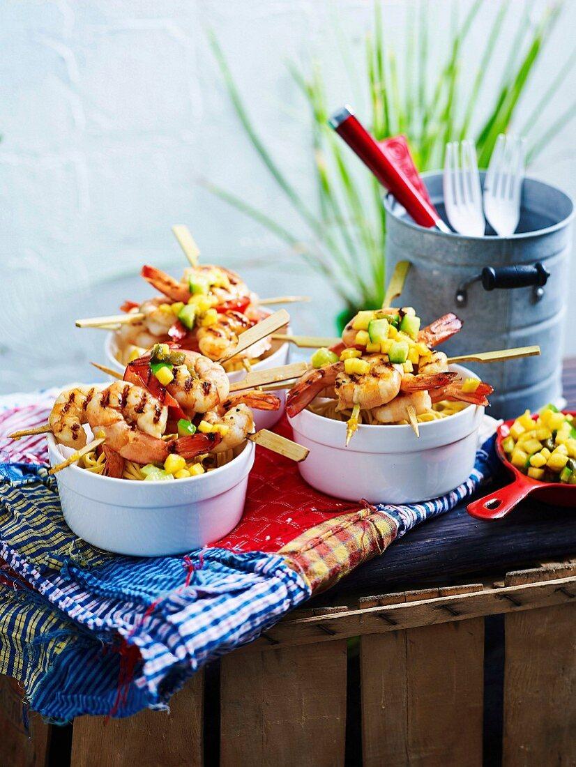 Prawn skeweres with pineapple-jalapeno salsa