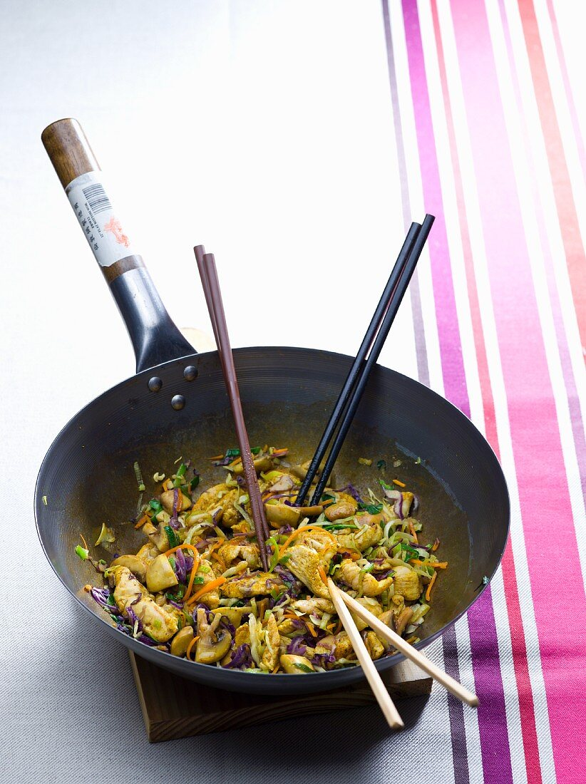 Chicken with mushrooms and red cabbage in a wok