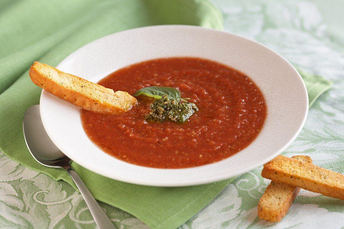 Tomato soup with pesto