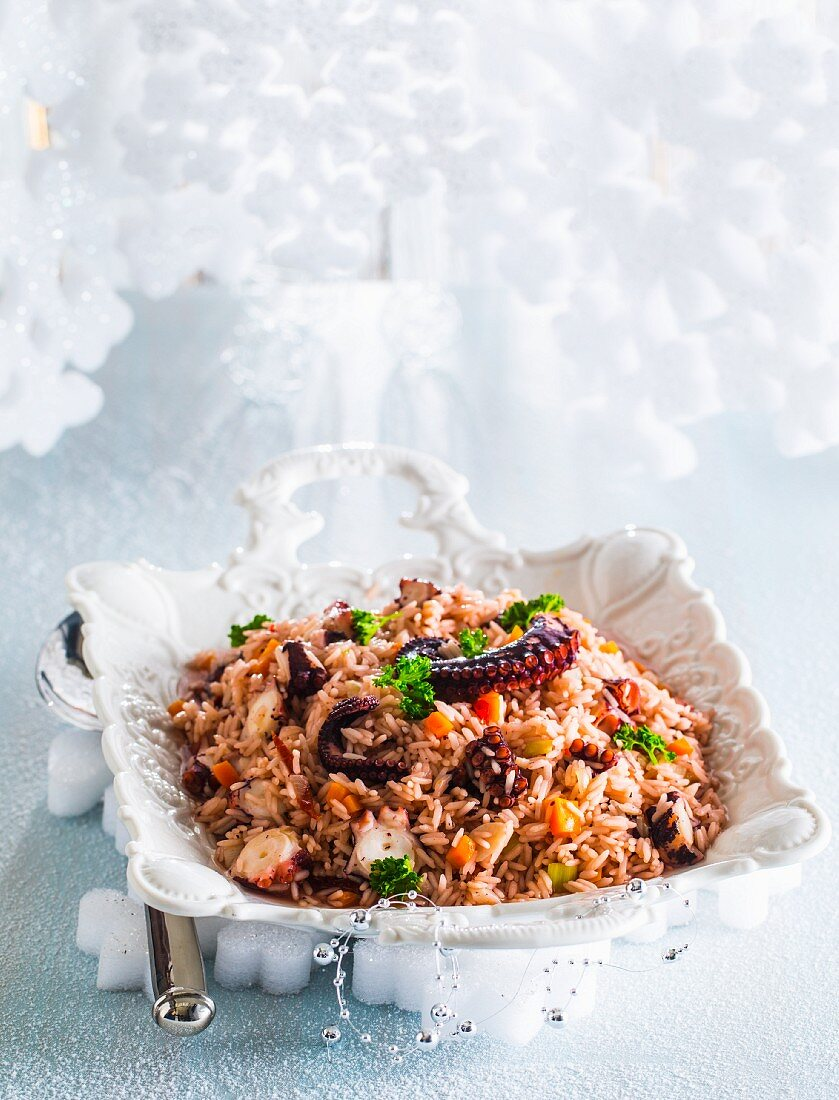Rice with octopus and vegetables for Christmas