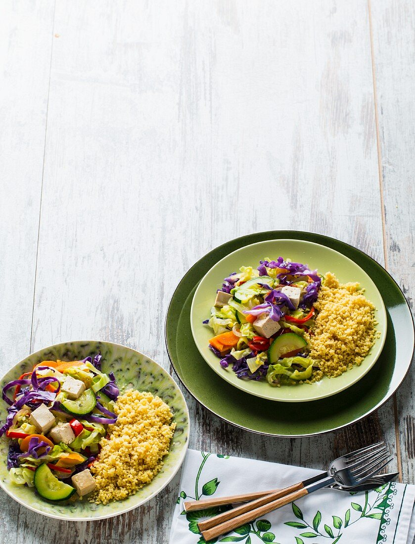 Rice with vegetables and tofu
