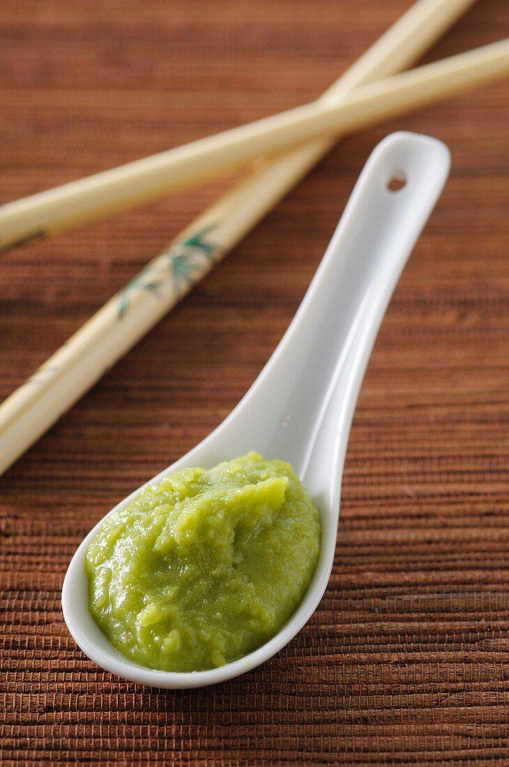 Wasabi on an Asian porcelain spoon