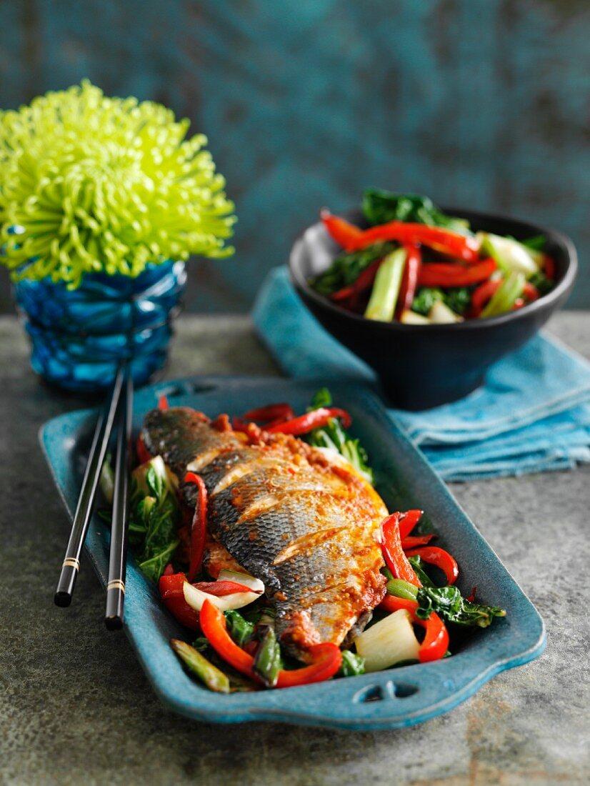 Szechuan sea bass with pepper and pak choy (Asia)