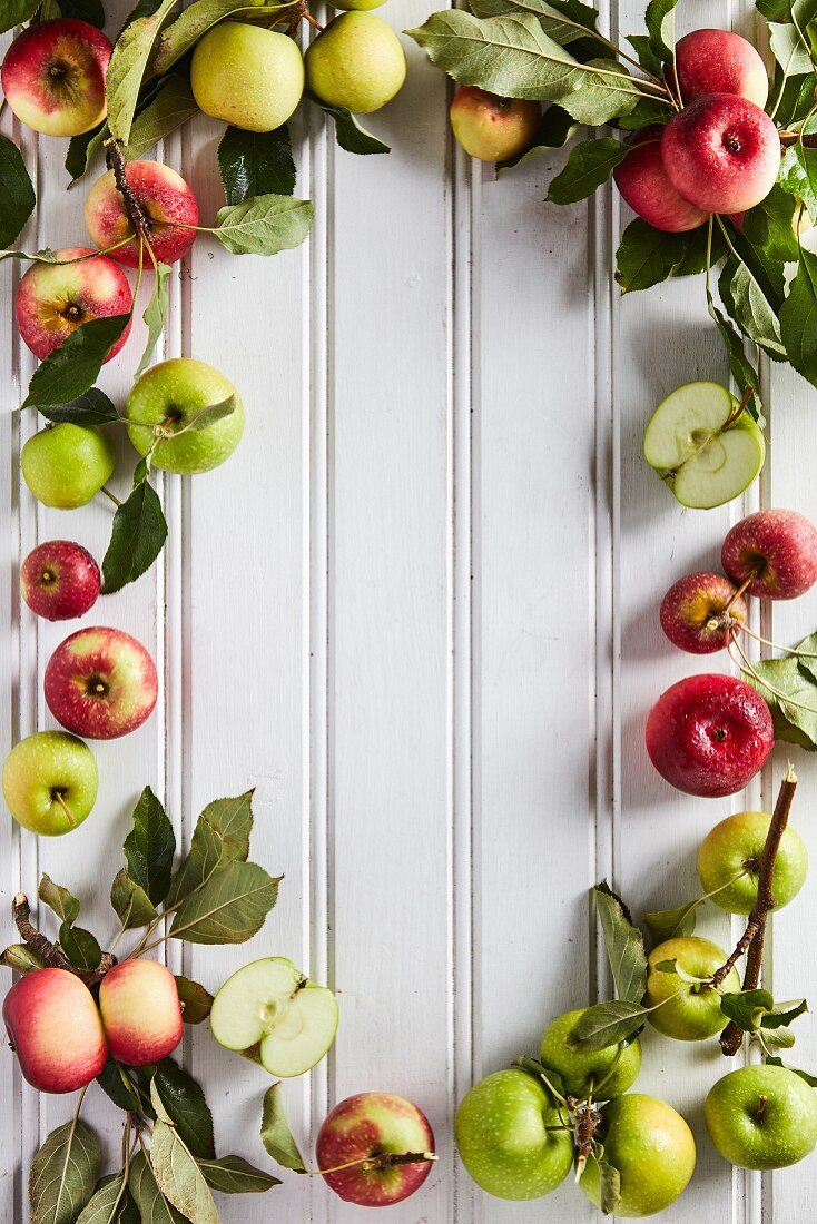 Various apples with leaves in a frame on white wooden panels