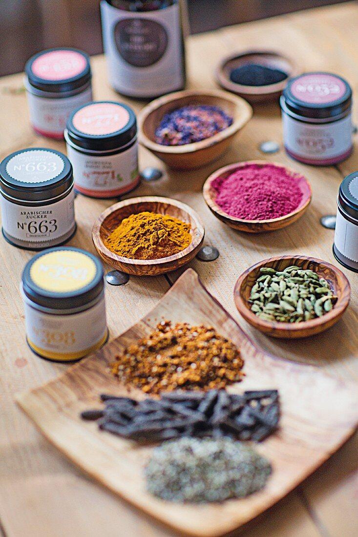 Spices from the 'Rimoco Gewürzmanufaktur' spice shop in Saarbrücken, Germany