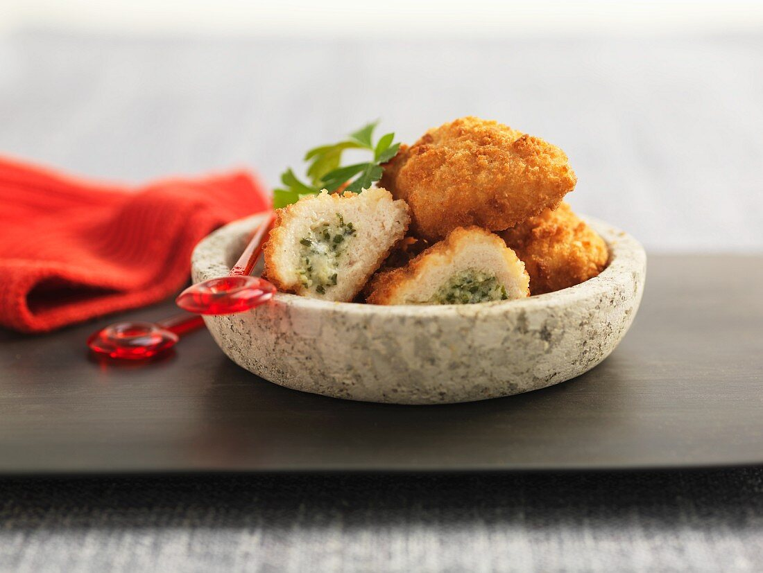 Chicken kiev appetisers in a bowl