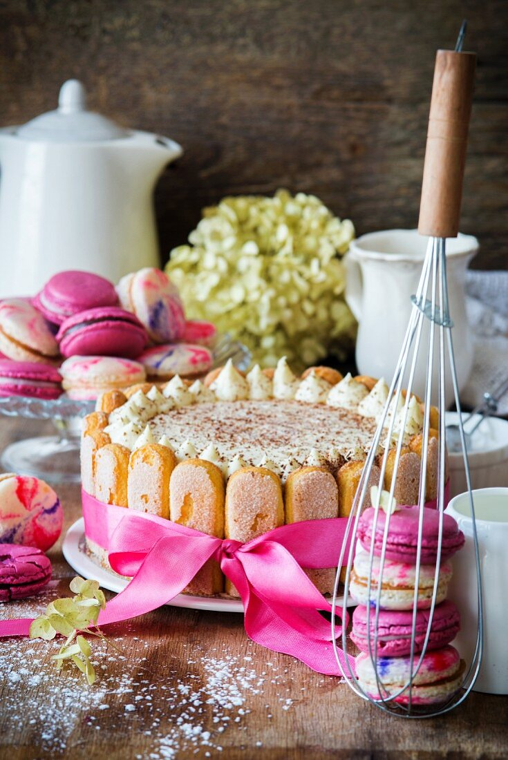 Tiramisu cake and macarons