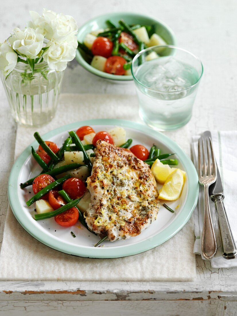 Chicken breast with lemon, garlic, rosemary and potato salad