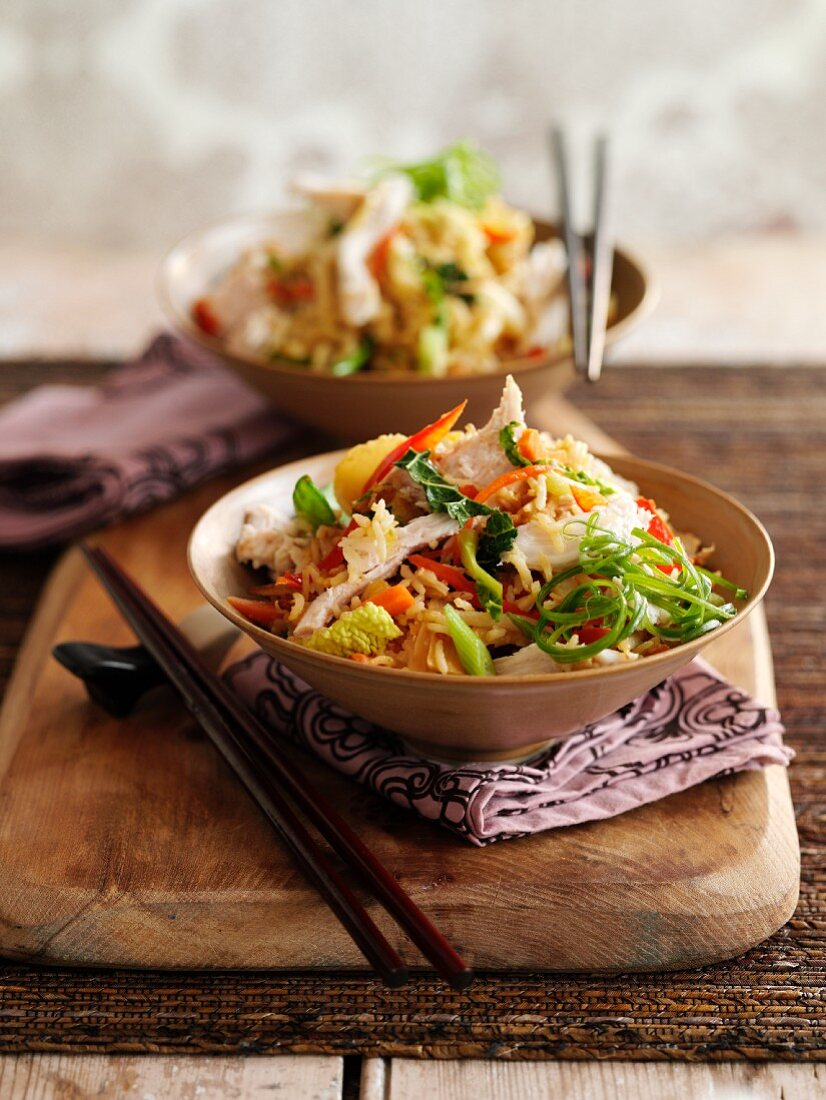 Quick and easy chicken and vegetables with rice (Asia)