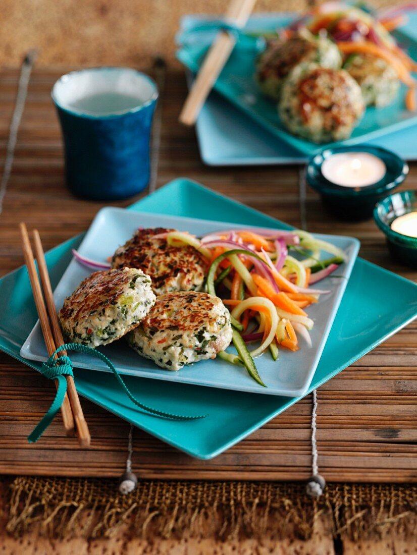 Thai-style chicken rissoles with vegetable salad