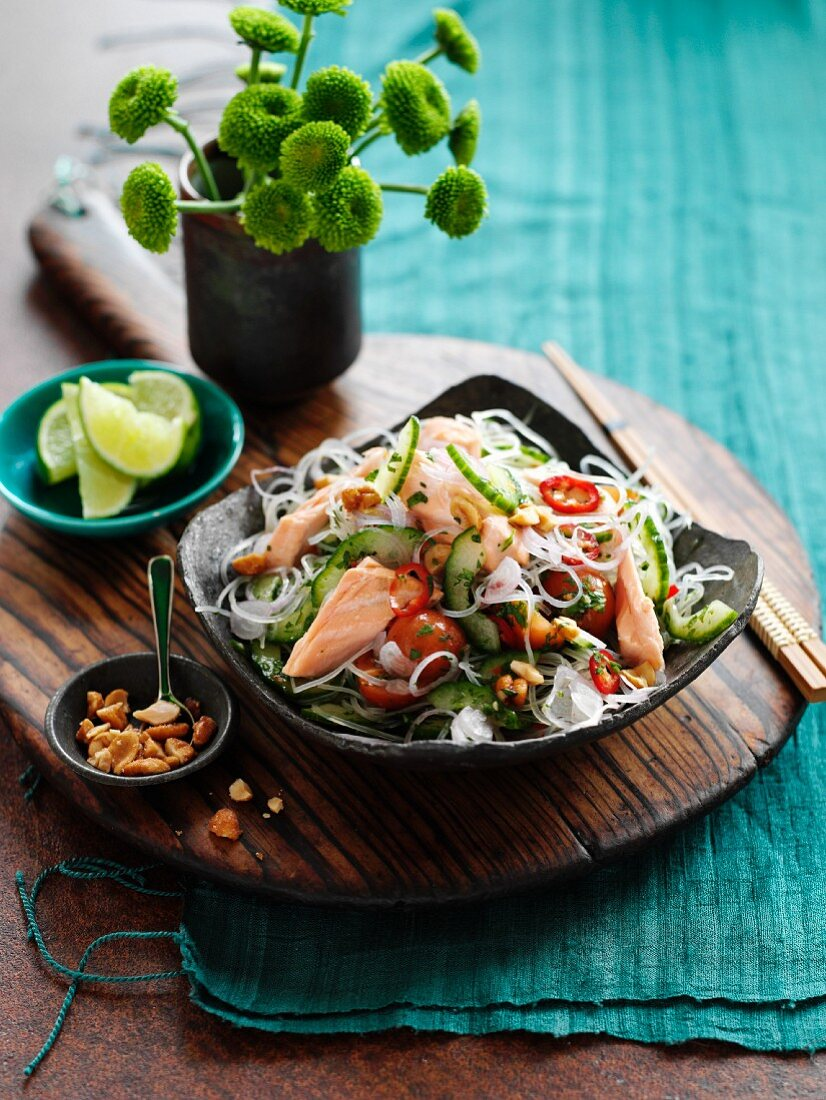 Glass noodles with salmon (Thailand)